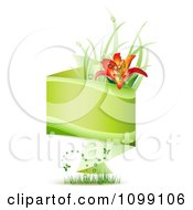 Clipart Green Origami Banner With Grass Butterflies And A Red Lily Royalty Free Vector Illustration by merlinul