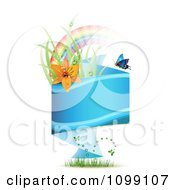 Clipart Blue Origami Banner With Grass Butterflies Rainbow And Red Lily Royalty Free Vector Illustration by merlinul