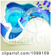 Clipart Background Of A Blue Profiled Woman With Long Hair Butterflies And Flowers Royalty Free Vector Illustration by merlinul