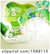 Clipart Background Of A Green Profiled Woman With Long Hair Butterflies Shamrocks And Daisies Royalty Free Vector Illustration
