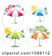 Clipart Butterflies With Rainbows Suns Stars And Colorful Umbrellas Royalty Free Vector Illustration by merlinul