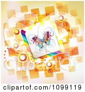 Clipart Butterfly Tile Over Rainbow Stripes And Orange Tiles With Circles Royalty Free Vector Illustration