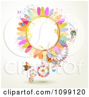Clipart Background Of Butterflies With Colorful Flower Petals And A Frame Royalty Free Vector Illustration