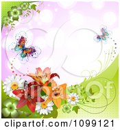 Clipart Background Of Butterflies With Daisies Shamrocks And Lilys Over Purple Royalty Free Vector Illustration
