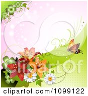 Clipart Background Of A Butterfly With Daisies Shamrocks And Lilies Over Pink Royalty Free Vector Illustration