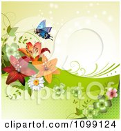 Clipart Background Of A Butterfly With Daisies Shamrocks And Lilies Over Beige Royalty Free Vector Illustration