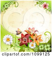 Clipart Background Of A Butterfly With Daisies Shamrocks And Lilies Over Beige With Clovers Royalty Free Vector Illustration