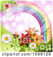Clipart Background Of A Butterfly With Daisies Shamrocks And Lilies Under A Dewy Rainbow Over Purple Royalty Free Vector Illustration