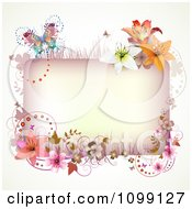 Clipart Background Of A Pink Floral Rectangle And Butterfly Royalty Free Vector Illustration