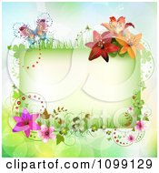 Clipart Background Of A Green Floral Rectangle And Butterfly Royalty Free Vector Illustration
