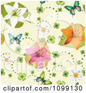 Clipart Seamless Background Pattern Of Lily Flowers Shamrocks Daisies And Butterflies On Beige Royalty Free Vector Illustration by merlinul