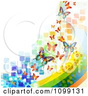 Clipart Background Of Butterflies With Colorful Waves Mesh And Squares Royalty Free Vector Illustration