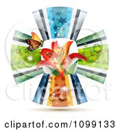 Clipart Orange Butterfly And Lily Flower In The Center Of Ribbon Petals Royalty Free Vector Illustration