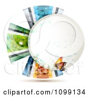 Clipart Orange Butterfly Over A Circle Frame With Dew And Ribbons Royalty Free Vector Illustration