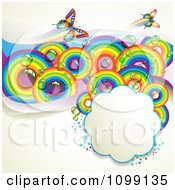 Clipart Background Of Butterflies With Mesh Waves And Rainbow Circles With A Cloud Frame Royalty Free Vector Illustration