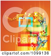 Clipart Background Of Butterflies With Streaks And Colorful Rectangles On Orange Royalty Free Vector Illustration