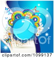 Clipart Background Of Butterflies A Shiny Blue Flower Rainbow Circles And Daisies Royalty Free Vector Illustration