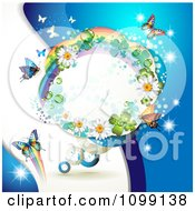 Clipart Background Of Butterflies With A Rainbow Flower And Shamrock Frame On Blue Royalty Free Vector Illustration