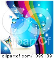 Clipart Background Of Butterflies With Rainbow Waves Dew Drops And Sparkles Royalty Free Vector Illustration