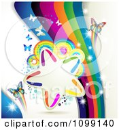 Clipart Background Of Butterflies With Rainbow Waves Circles And A Star Frame Royalty Free Vector Illustration