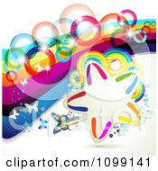 Clipart Background Of Butterflies With Rainbow Waves Rings And A Star Frame Royalty Free Vector Illustration by merlinul