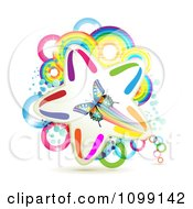 Clipart Butterfly Over A Colorful Star Rings And Rainbow Circles Royalty Free Vector Illustration