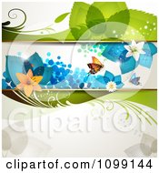 Clipart Floral Background With Butterflies Flowers And Blue Leaves Royalty Free Vector Illustration