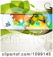 Clipart Floral Background Of Colorful Leafy Orbs And A Butterfly Royalty Free Vector Illustration