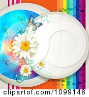 Clipart Background Of A White Circle With Daisies Mesh Waves Dew Butterfly And Rainbow Stripes Royalty Free Vector Illustration by merlinul
