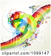 Clipart Background Of Butterflies With Mesh Rainbow Waves Stars And Circles Royalty Free Vector Illustration