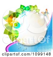 Clipart Circle Frame With Green Leaves A Butterfly Over Blue Dots Royalty Free Vector Illustration