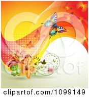 Clipart Background Of Butterflies With Mesh Waves And Flowers Royalty Free Vector Illustration