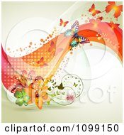 Clipart Background Of Butterflies With Mesh Waves And Lilies Royalty Free Vector Illustration