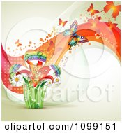 Clipart Background Of Butterflies With Mesh Waves And A Rainbow Clover Royalty Free Vector Illustration