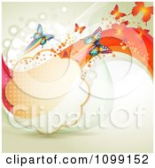 Clipart Background Of Butterflies With Mesh Waves And A Cloud Frame Royalty Free Vector Illustration