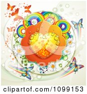 Dewy Orange Heart With Rainbow Circles Dew Flowers Shamrocks And Butterflies