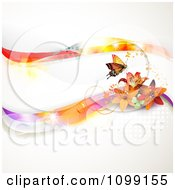 Clipart Background Of Lilies And Butterflies With Colorful Waves Dots And Copyspace Royalty Free Vector Illustration