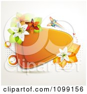 Clipart Background Of A Butterfly With Lilies And Leaves Around An Orange Triangular Frame Royalty Free Vector Illustration by merlinul
