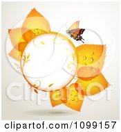 Clipart Background Of A Butterfly With Orange Leaves Around A Frame Royalty Free Vector Illustration