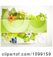 Clipart Background Of A Butterfly With A Green Banner Flowers And Leaves Royalty Free Vector Illustration