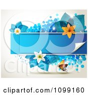 Clipart Background Of A Butterfly With A Blue Banner Flowers And Leaves Royalty Free Vector Illustration