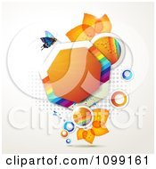 Clipart Background Of Blue Butterflies With Leaves Rainbows And An Orange Heptagon Royalty Free Vector Illustration