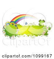 Clipart Green Grassy Butterfly Banner With Flowers Rainbows And Shamrocks Royalty Free Vector Illustration