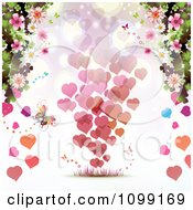Valentines Day Background Of Floating Hearts Borderd With Butterflies And Blossoms