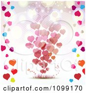 Valentines Day Background Of Floating Hearts Borderd With Colorful Hearts