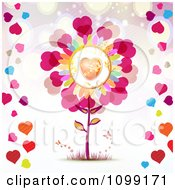 Love Flower With Butterflies And Colorful Hearts