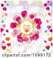Orange And Gold Heart Flower On Pink