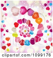 Heart Spiral Background With A Daisy And Butterflies