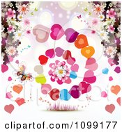 Background Of A Butterfly Blossoms And Spiraling Hearts