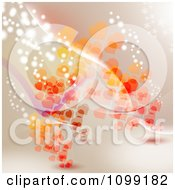 Valentine Background Of Red And Orange Hearts Waves And Sparkling Lights On Beige